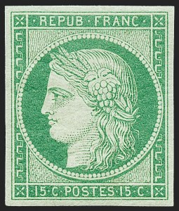 Sale Number 1226, Lot Number 1506, France - 1849 Ceres thru 1852 NapoleonFRANCE, 1849, 15c Green on Greenish (2; Yvert 2), FRANCE, 1849, 15c Green on Greenish (2; Yvert 2)
