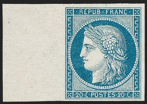 Sale Number 1226, Lot Number 1509, France - 1849 Ceres thru 1852 NapoleonFRANCE, 1849, 20c Blue on Yellowish, Unissued (4b; Yvert 8), FRANCE, 1849, 20c Blue on Yellowish, Unissued (4b; Yvert 8)