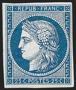 Sale Number 1226, Lot Number 1510, France - 1849 Ceres thru 1852 NapoleonFRANCE, 1849, 25c Blue on Yellowish (6b; Yvert 4a), FRANCE, 1849, 25c Blue on Yellowish (6b; Yvert 4a)
