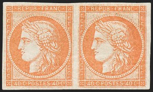 Sale Number 1226, Lot Number 1511, France - 1849 Ceres thru 1852 NapoleonFRANCE, 1850, 40c Dark Orange with Brownish Gum (7 var; Yvert 5A), FRANCE, 1850, 40c Dark Orange with Brownish Gum (7 var; Yvert 5A)