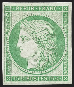 Sale Number 1226, Lot Number 1514, France - 1849 Ceres thru 1852 NapoleonFRANCE, 1862, 15c Yellow Green Re-Issue (2d; Yvert 2e), FRANCE, 1862, 15c Yellow Green Re-Issue (2d; Yvert 2e)