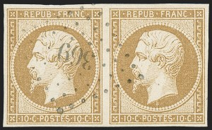 Sale Number 1226, Lot Number 1515, France - 1849 Ceres thru 1852 NapoleonFRANCE, 1852, 10c Dark Bister on Yellowish (10a; Yvert 9a), FRANCE, 1852, 10c Dark Bister on Yellowish (10a; Yvert 9a)