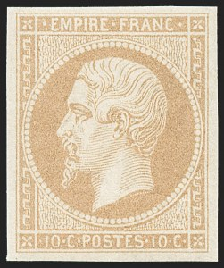 Sale Number 1226, Lot Number 1517, France - 1849 Ceres thru 1852 NapoleonFRANCE, 1860, 10c Bister on Yellowish, Ty. II (14c; Yvert 13B), FRANCE, 1860, 10c Bister on Yellowish, Ty. II (14c; Yvert 13B)