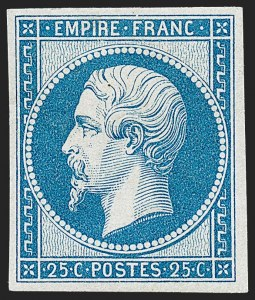 Sale Number 1226, Lot Number 1519, France - 1849 Ceres thru 1852 NapoleonFRANCE, 1862, 25c Blue Re-Issue (17c; Yvert 15c), FRANCE, 1862, 25c Blue Re-Issue (17c; Yvert 15c)