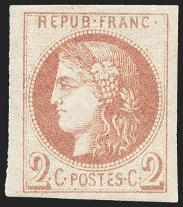 Sale Number 1226, Lot Number 1538, France - 1870 Bordeaux thru 1872 Large NumeralsFRANCE, 1870, 2c Chocolate (39c; Yvert 40A), FRANCE, 1870, 2c Chocolate (39c; Yvert 40A)
