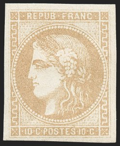 Sale Number 1226, Lot Number 1539, France - 1870 Bordeaux thru 1872 Large NumeralsFRANCE, 1870, 10c Bister on Yellowish, Die I (42; Yvert 43A), FRANCE, 1870, 10c Bister on Yellowish, Die I (42; Yvert 43A)