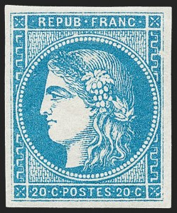 Sale Number 1226, Lot Number 1540, France - 1870 Bordeaux thru 1872 Large NumeralsFRANCE, 1870, 20c Blue on Bluish, Type II, Report I (44; Yvert 45A), FRANCE, 1870, 20c Blue on Bluish, Type II, Report I (44; Yvert 45A)