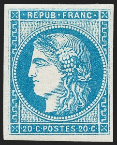Sale Number 1226, Lot Number 1541, France - 1870 Bordeaux thru 1872 Large NumeralsFRANCE, 1870, 20c Blue on Bluish, Type II, Report I (44; Yvert 45A), FRANCE, 1870, 20c Blue on Bluish, Type II, Report I (44; Yvert 45A)