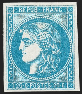 Sale Number 1226, Lot Number 1542, France - 1870 Bordeaux thru 1872 Large NumeralsFRANCE, 1871, 20c Blue on Bluish, Die III, Report 2 (45; Yvert 46B), FRANCE, 1871, 20c Blue on Bluish, Die III, Report 2 (45; Yvert 46B)