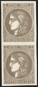Sale Number 1226, Lot Number 1543, France - 1870 Bordeaux thru 1872 Large NumeralsFRANCE, 1870, 30c Brown on Yellowish (46; Yvert 47), FRANCE, 1870, 30c Brown on Yellowish (46; Yvert 47)