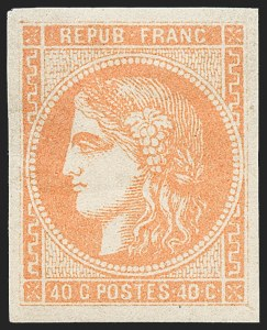 Sale Number 1226, Lot Number 1544, France - 1870 Bordeaux thru 1872 Large NumeralsFRANCE, 1870, 40c Orange (47; Yvert 48), FRANCE, 1870, 40c Orange (47; Yvert 48)