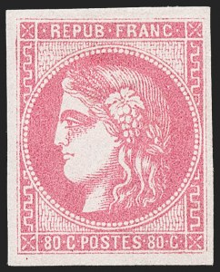 Sale Number 1226, Lot Number 1545, France - 1870 Bordeaux thru 1872 Large NumeralsFRANCE, 1870, 80c Rose on Pinkish (48; Yvert 49), FRANCE, 1870, 80c Rose on Pinkish (48; Yvert 49)
