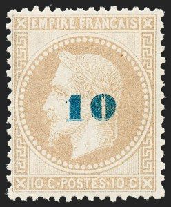 Sale Number 1226, Lot Number 1546, France - 1870 Bordeaux thru 1872 Large NumeralsFRANCE, 1871, 10c on 10c Bister (49; Yvert 34), FRANCE, 1871, 10c on 10c Bister (49; Yvert 34)