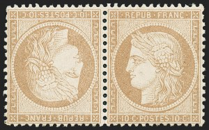 Sale Number 1226, Lot Number 1547, France - 1870 Bordeaux thru 1872 Large NumeralsFRANCE, 1870, 10c Bister on Yellowish, Tete-Beche Pair (54a; Yvert 36b), FRANCE, 1870, 10c Bister on Yellowish, Tete-Beche Pair (54a; Yvert 36b)