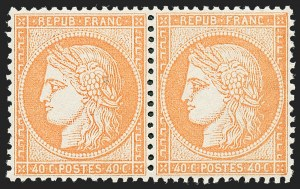 Sale Number 1226, Lot Number 1548, France - 1870 Bordeaux thru 1872 Large NumeralsFRANCE, 1870, 40c Orange on Yellowish, Type I (59; Yvert 38), FRANCE, 1870, 40c Orange on Yellowish, Type I (59; Yvert 38)