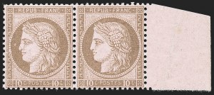 Sale Number 1226, Lot Number 1549, France - 1870 Bordeaux thru 1872 Large NumeralsFRANCE, 1875, 10c Bister on Rose (60; Yvert 54), FRANCE, 1875, 10c Bister on Rose (60; Yvert 54)