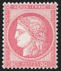 Sale Number 1226, Lot Number 1551, France - 1870 Bordeaux thru 1872 Large NumeralsFRANCE, 1872, 80c Rose on Pinkish Paper (63; Yvert 57), FRANCE, 1872, 80c Rose on Pinkish Paper (63; Yvert 57)