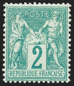 Sale Number 1226, Lot Number 1553, France - 1876 Sage thru 1929FRANCE, 1876, 2c Green on Greenish Paper, Type I (65; Yvert 62), FRANCE, 1876, 2c Green on Greenish Paper, Type I (65; Yvert 62)