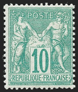 Sale Number 1226, Lot Number 1554, France - 1876 Sage thru 1929FRANCE, 1876, 10c Green on Greenish, Type I (68; Yvert 65), FRANCE, 1876, 10c Green on Greenish, Type I (68; Yvert 65)