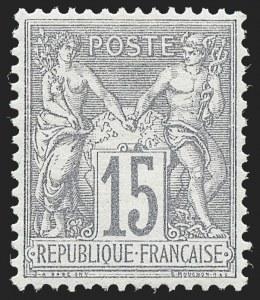 Sale Number 1226, Lot Number 1555, France - 1876 Sage thru 1929FRANCE, 1876, 15c Gray Lilac on Grayish Paper, Type I (69; Yvert 66), FRANCE, 1876, 15c Gray Lilac on Grayish Paper, Type I (69; Yvert 66)