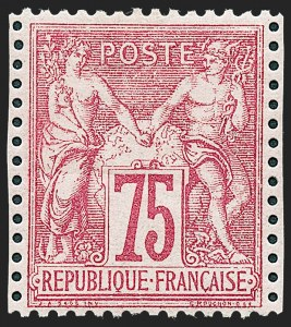 Sale Number 1226, Lot Number 1556, France - 1876 Sage thru 1929FRANCE, 1876, 75c Carmine on Rose, Type I (75; Yvert 71), FRANCE, 1876, 75c Carmine on Rose, Type I (75; Yvert 71)