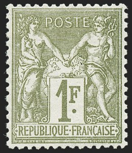 Sale Number 1226, Lot Number 1557, France - 1876 Sage thru 1929FRANCE, 1876, 1fr Bronze Green on Straw, Type I (76; Yvert 72), FRANCE, 1876, 1fr Bronze Green on Straw, Type I (76; Yvert 72)