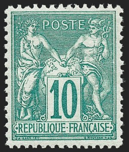 Sale Number 1226, Lot Number 1558, France - 1876 Sage thru 1929FRANCE, 1876, 10c Green on Greenish, Type II (79; Yvert 76), FRANCE, 1876, 10c Green on Greenish, Type II (79; Yvert 76)