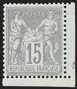 Sale Number 1226, Lot Number 1560, France - 1876 Sage thru 1929FRANCE, 1876, 15c Gray Lilac on Grayish, Type II (80; Yvert 77), FRANCE, 1876, 15c Gray Lilac on Grayish, Type II (80; Yvert 77)