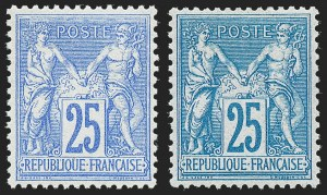 Sale Number 1226, Lot Number 1561, France - 1876 Sage thru 1929FRANCE, 1876, 25c Ultramarine on Bluish, Blue on Bluish, Type II (81, 81a; Yvert 78, 78e), FRANCE, 1876, 25c Ultramarine on Bluish, Blue on Bluish, Type II (81, 81a; Yvert 78, 78e)