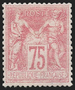 Sale Number 1226, Lot Number 1562, France - 1876 Sage thru 1929FRANCE, 1877, 75c Carmine on Rose, Type II (83; Yvert 81), FRANCE, 1877, 75c Carmine on Rose, Type II (83; Yvert 81)