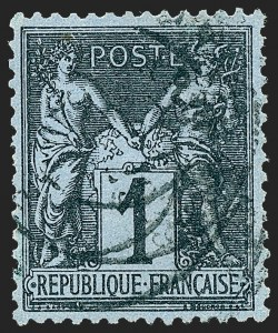 Sale Number 1226, Lot Number 1563, France - 1876 Sage thru 1929FRANCE, 1880, 1c Black on Prussian Blue, Ty. II (87; Yvert 84), FRANCE, 1880, 1c Black on Prussian Blue, Ty. II (87; Yvert 84)