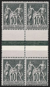 Sale Number 1226, Lot Number 1564, France - 1876 Sage thru 1929FRANCE, 1898-1900, 10c Black on Lavender, Se-tenant Types I-II (Yvert 89f), FRANCE, 1898-1900, 10c Black on Lavender, Se-tenant Types I-II (Yvert 89f)