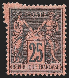 Sale Number 1226, Lot Number 1565, France - 1876 Sage thru 1929FRANCE, 1878, 25c Black on Deep Red, Type II (93; Yvert 91a), FRANCE, 1878, 25c Black on Deep Red, Type II (93; Yvert 91a)