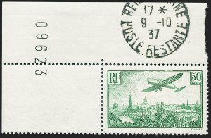 Sale Number 1226, Lot Number 1572, France - Air Post and Back-of-BookFRANCE, 1936, 50fr Plane Over Paris (C14; Yvert PA14), FRANCE, 1936, 50fr Plane Over Paris (C14; Yvert PA14)