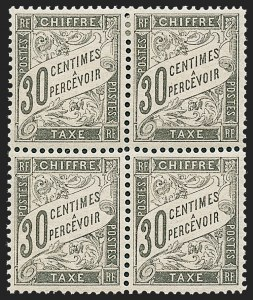 Sale Number 1226, Lot Number 1575, France - Air Post and Back-of-BookFRANCE, 1882, 30c Black, Postage Due (J19; Yvert TT18), FRANCE, 1882, 30c Black, Postage Due (J19; Yvert TT18)