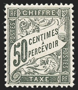 Sale Number 1226, Lot Number 1576, France - Air Post and Back-of-BookFRANCE, 1892, 50c Black, Postage Due (J21; Yvert TT20), FRANCE, 1892, 50c Black, Postage Due (J21; Yvert TT20)