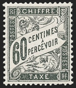 Sale Number 1226, Lot Number 1577, France - Air Post and Back-of-BookFRANCE, 1884, 60c Black, Postage Due (J22; Yvert TT21), FRANCE, 1884, 60c Black, Postage Due (J22; Yvert TT21)