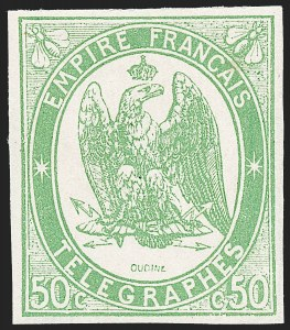 Sale Number 1226, Lot Number 1581, France - Air Post and Back-of-BookFRANCE, 1868, 50c Green, Telegraph (Yvert TT2), FRANCE, 1868, 50c Green, Telegraph (Yvert TT2)