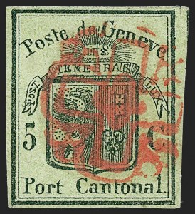 Sale Number 1226, Lot Number 1641, Switzerland thru Vatican CitySWITZERLAND, Geneva, 1847, 5c Black on Yellow Green, Large Eagle (2L3; Zumstein 6), SWITZERLAND, Geneva, 1847, 5c Black on Yellow Green, Large Eagle (2L3; Zumstein 6)