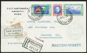Sale Number 1226, Lot Number 1654, Worldwide Flight Covers - AlphabeticallyITALY, 1933, 5.25l + 44.75l Balbo Air Post Triptych (C49; Sassone A52P), ITALY, 1933, 5.25l + 44.75l Balbo Air Post Triptych (C49; Sassone A52P)