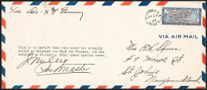 Sale Number 1226, Lot Number 1655, Worldwide Flight Covers - AlphabeticallyNEWFOUNDLAND, 1932, May 20, Transatlantic DOX Flight (AAMC 31a), NEWFOUNDLAND, 1932, May 20, Transatlantic DOX Flight (AAMC 31a)