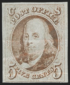 Sale Number 1227, Lot Number 2071, 5c 1847 Issue (Scott 1)5c Red Brown (1), 5c Red Brown (1)