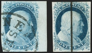Sale Number 1227, Lot Number 2149, 1c 1851-56 Issue (Scott 5A-9)1c Blue, Ty. II, IV (7, 9), 1c Blue, Ty. II, IV (7, 9)