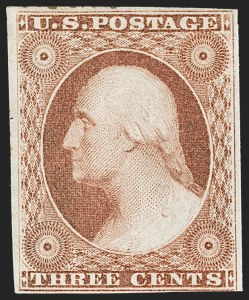 Sale Number 1227, Lot Number 2170, 3c-5c 1851-56 Issue (Scott 10-12)3c Orange Brown, Ty. I (10), 3c Orange Brown, Ty. I (10)