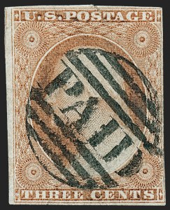 Sale Number 1227, Lot Number 2176, 3c-5c 1851-56 Issue (Scott 10-12)3c Pale Orange Brown, Ty. II, Very Thin Paper (10A var), 3c Pale Orange Brown, Ty. II, Very Thin Paper (10A var)