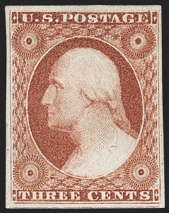 Sale Number 1227, Lot Number 2177, 3c-5c 1851-56 Issue (Scott 10-12)3c Brownish Carmine, Ty. I (11), 3c Brownish Carmine, Ty. I (11)