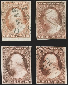 Sale Number 1227, Lot Number 2183, 3c-5c 1851-56 Issue (Scott 10-12)3c Claret, Ty. II, Major Plate Crack (11A), 3c Claret, Ty. II, Major Plate Crack (11A)
