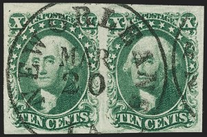 Sale Number 1227, Lot Number 2198, 10c-12c 1851-56 Issue (Scott 13-17)10c Green, Ty. II (14), 10c Green, Ty. II (14)