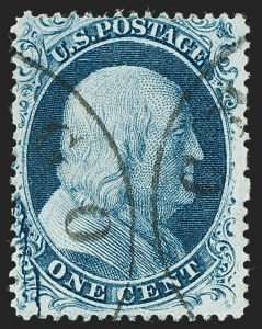 Sale Number 1227, Lot Number 2226, 1c 1857-60 Issue (Scott 18-24)1c Blue, Ty. II, Major Plate Crack (20 var), 1c Blue, Ty. II, Major Plate Crack (20 var)