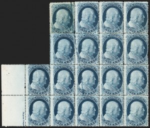 Sale Number 1227, Lot Number 2227, 1c 1857-60 Issue (Scott 18-24)1c Blue, Ty. II, Major Plate Crack (20 var), 1c Blue, Ty. II, Major Plate Crack (20 var)